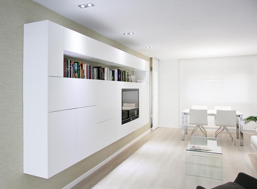 Mueble de tv moderno en la reforma integral de un pequeño piso |Chiralt arquitectos Valencia | Centelles