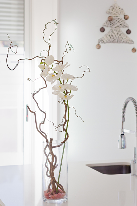 Orquídea en cocina de casa minimalista. Chiralt Arquitectos Valencia.