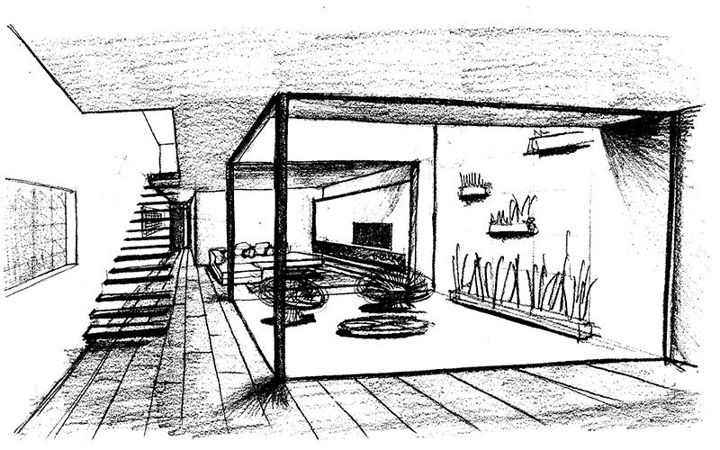boceto de casa de pueblo moderna I Chiralt Arquitectos Valencia