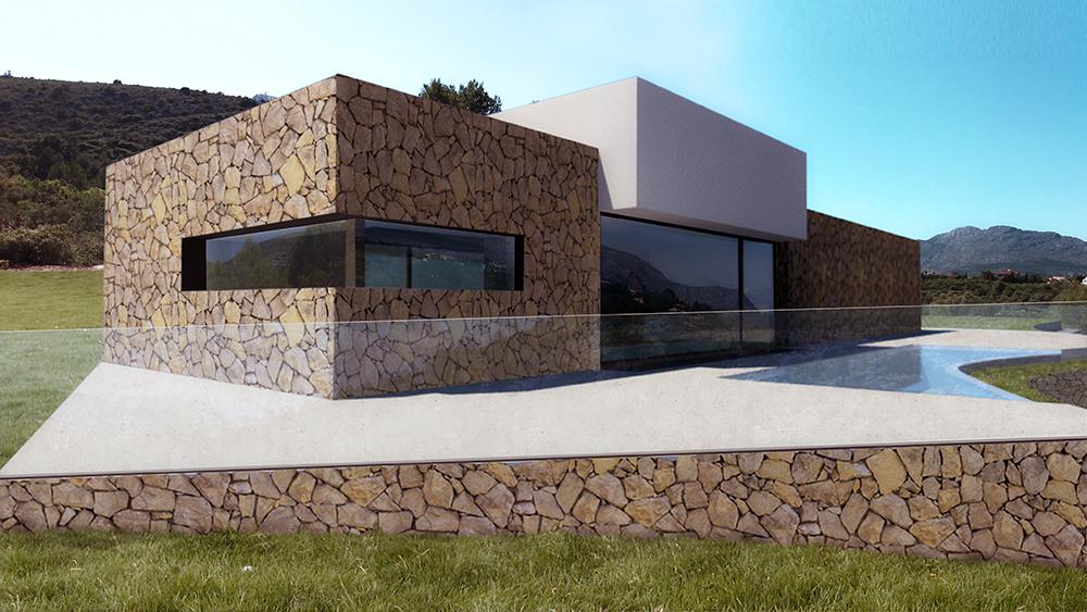Vivienda mediterránea de piedra en Orba - Alicante, en la montaña, realizada por Chiralt Arquitectos Valencia.