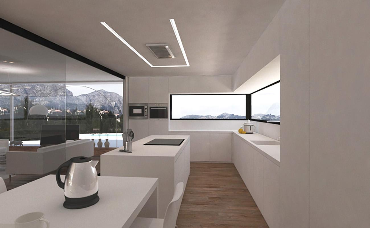 Cocina moderna en vivienda mediterránea de piedra en Orba - Alicante, en la montaña, realizada por Chiralt Arquitectos Valencia.
