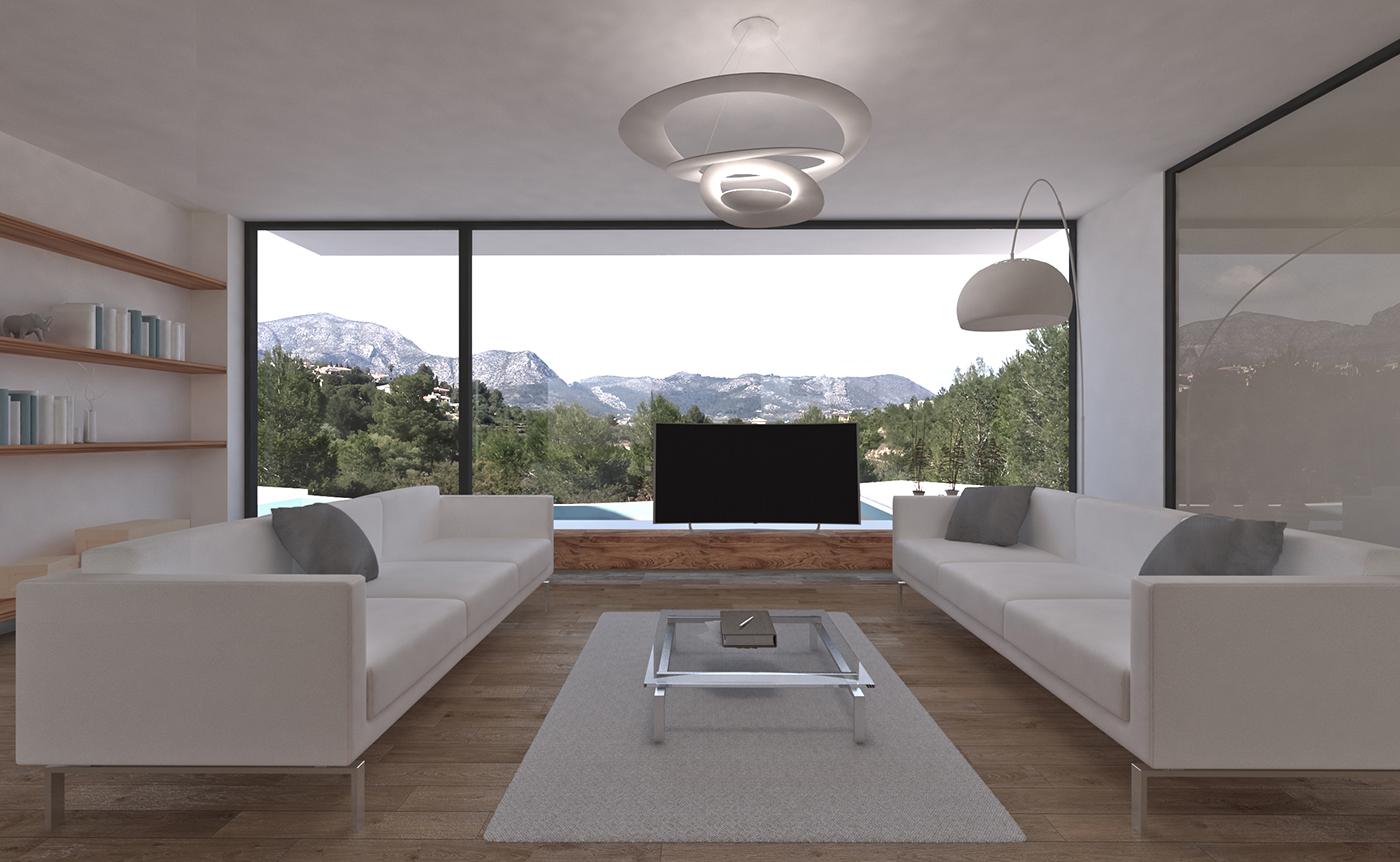 Salón con cristalera panorámica en vivienda mediterránea de piedra en Orba - Alicante, en la montaña, realizada por Chiralt Arquitectos Valencia.